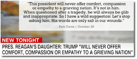 Empathy and compassion are not found in Trump says Reagan's daughter Patti Davis (29 Oct 2018)