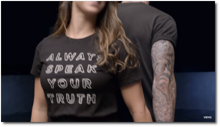 Always speak your truth says Aly Raisman's shirt in Girls Like You music video (30 May 2018)