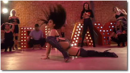 Brinn Nicole elongates out of crouched tuck in choreo of Gaga's Teeth (21 Oct 2018)