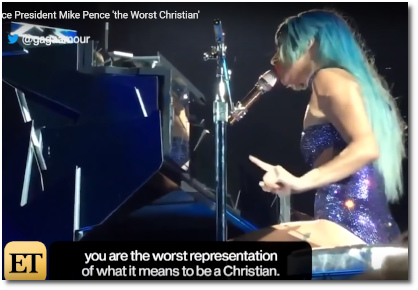 Gaga calls Mike Pence the worst representation of what it means to be a Christian (22Jan2019)