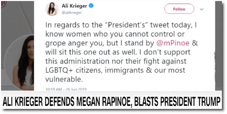 U.S. Women's soccer player Ali Krieger defends her teammate Megan Rapinoe against Trump's Twitter attacks (4 July 2019).