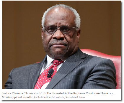 Clarence Thomas vs the Evidence, by David Leonhardt (3 July 2019)
