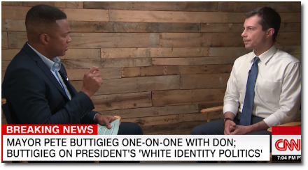 Don Lemon interviews 2020 Presidential candidate Mayor Pete Buttigieg about the issue of tackling racial inequality and about Joe Biden being out of touch with reality at the 1st debate (28 June 2019)