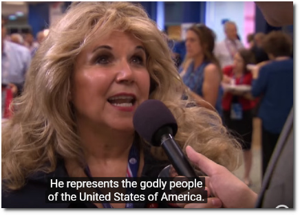 Evangelical lady says that Trump represents the Godly people of America