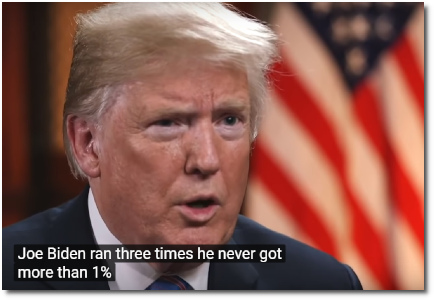 Trump says it would be a dream to run against Joe Biden in 2020 .. because Biden ran for President 3 times and never got more than 1% of the vote | CBS Evening News (19 July 2018).