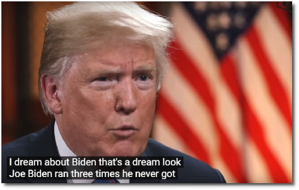 Trump says it would be a dream to run against Joe Biden in 2020 .. because Biden ran for President three times and never got more than 1% of the vote | CBS Evening News (19 July 2018).