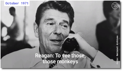 Ronald Reagan recorded talking to Nixon using a racial slur to refer to Africans as 'monkeys' (National Archives, Oct 1971, posted 31 July 2019)