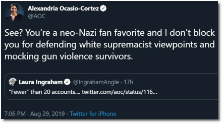 AOC lays the smack down on Laura Ingraham, the neo-Nazi fan favorite who defends white supremacist viewpoints (29 Aug 2019)