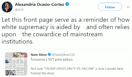 AOC responds (5 Aug 2019) to proposed headline by NY Times following Trump speech (4 Aug 2019) on dual mass shootings in Dayton and El Paso (3 Aug 2019)