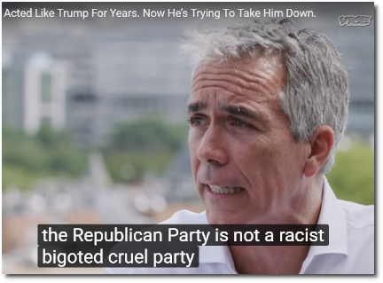 Former Tea Party congressman Joe Walsh tells Vice News that the Republican party is not a racist bigoted cruel party (30 Aug 2019).
