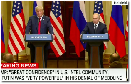 Trump and Putin joint Press conference at summit in Helsinki, where Trump sides with Putin instead of his own Intelligence agencies (16 July 2018)