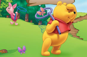Winnie the Pooh and Piglet Looking for butterflies