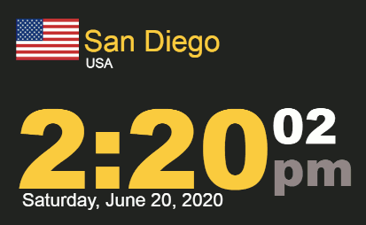 Timestamp 2:20 PM for Saturday, 20 June 2020, San Diego time, summer solstice