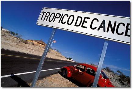 Tropico de Cancer roadside sign Baja California with red_VW bug by David Sanger Photography