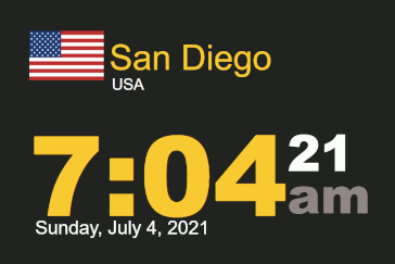 Time-n-date timestamp World clock San Diego 7:04 am on 4 July 2021