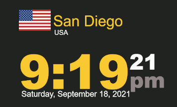 Worldclock timestamp San Diego 9:19 pm Saturday 18 Sept 2021