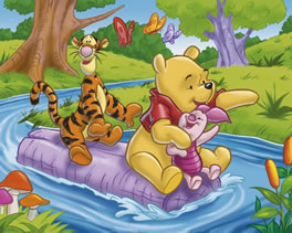 Pooh, Tigger & Piglet floating down a river on a raft