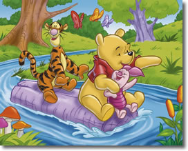 Pooh & Tiger & Piglet Rafting down a river in the Hundred Acre Wood