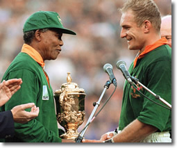 The Real Nelson Mandela at 95 Rugby World Cup with the Real Francois Pienaar