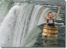 Heading over Niagra Falls in a Barrel