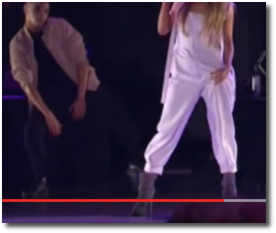 Ariana tugging on her overalls and creating a dangerous tension at MSG in NYC Sept 7, 2016