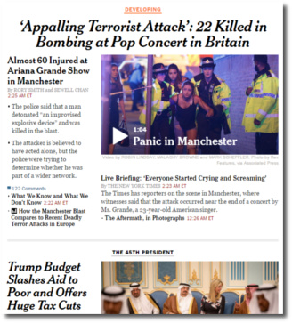 New York Times homepage May 23, 2017 Manchester suicide bombing