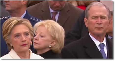 Hillary and Dubya share a moment at Trump's inauguration Jan 20, 2017