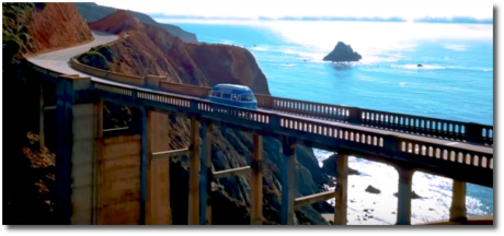 Blue Wandxr VW bus on Bixby Creek bridge in Big Sur