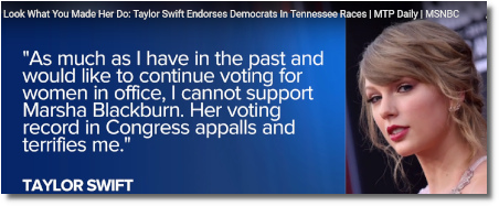 Taylor Swift gets political in Tennessee (8 Oct 2018)